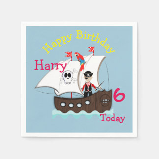 Cute Pirate Themed Birthday Party Napkin