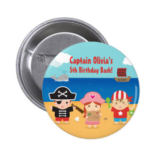 Cute Pirate Themed Kids Birthday Party Favors 2 Inch Round Button