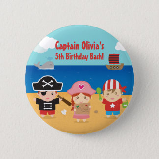 Cute Pirate Themed Kids Birthday Party Favors Pinback Button