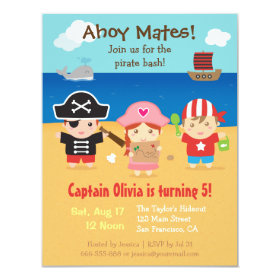 Cute Pirate Themed Kids Birthday Party Invitations 4.25