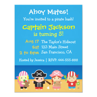 Cute Pirates Boys and Girls Birthday Party 4.25x5.5 Paper Invitation Card