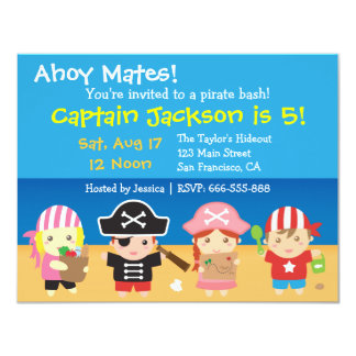 Cute Pirates Boys and Girls Birthday Party Card