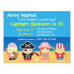 Cute Pirates Boys and Girls Birthday Party Invites