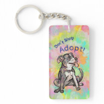 "Cute Pit Bull ""Adopt!, don't shop"" Keychain"