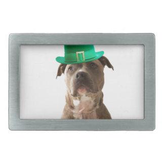 Cute Pit Bull Dog Hat St. Patrick's Day Belt Buckles