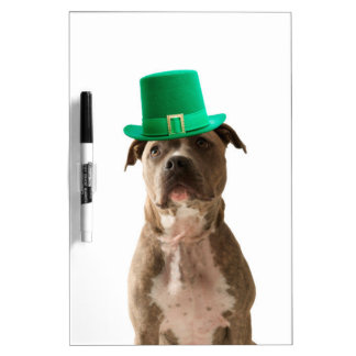Cute Pit Bull Dog Hat St. Patrick's Day Dry-Erase Board