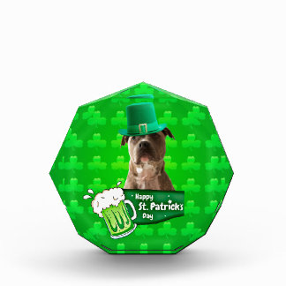 Cute Pit Bull Dog Hat St. Patrick's Day w Clovers Award