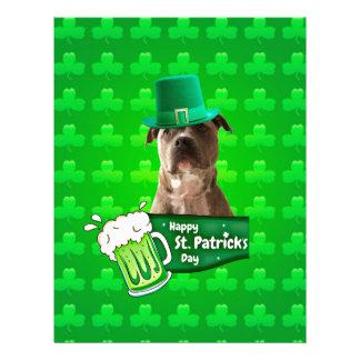 Cute Pit Bull Dog Hat St. Patrick's Day w Clovers Letterhead