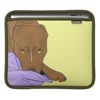 Cute Pit Bull in a Blanket - Line Art Portrait Sleeve For iPads