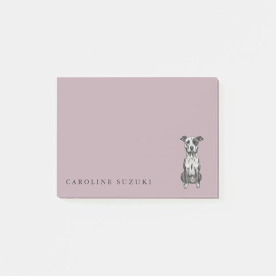 Cute Pit Bull Terrier Dog Drawing, Personalized Post-it