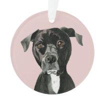Cute Pit Bull Terrier Dog Illustration Ornament