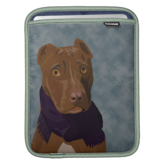 Cute Pit Bull with a sad look and a scarf Sleeves For iPads