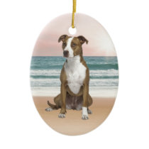 Cute Pitbull Dog Sitting on Beach with sunset Ceramic Ornament