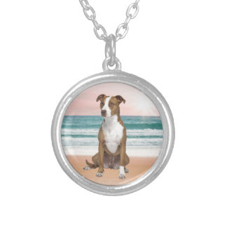 Cute Pitbull Dog Sitting on Beach with sunset Silver Plated Necklace