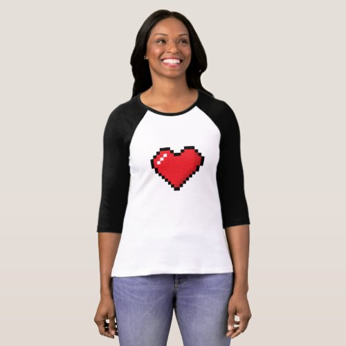 Cute Pixel Heart Design for T_Shirt