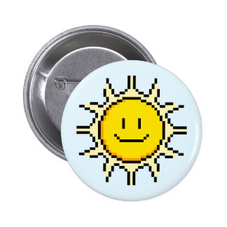 Cute Pixel Sun Pinback Button
