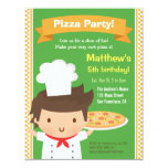 Cute Pizza Chef Boy Kids Birthday Party Card