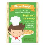 Cute Pizza Chef Boy Kids Birthday Party 4.25x5.5 Paper Invitation Card