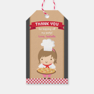Cute Pizza Chef Girl Birthday Party Gift Tags