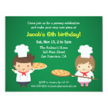 Cute Pizza Kids Birthday Party Invitations