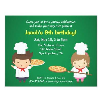 cute pizza chef boy birthday party invitations zazzle com