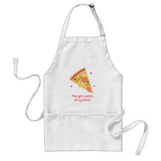 Cute Pizza of my Heart Pun Love Humor Adult Apron