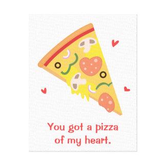 Cute Pizza of my Heart Pun Love Humor Canvas Print