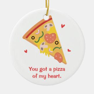 Cute Pizza of my Heart Pun Love Humor Ceramic Ornament