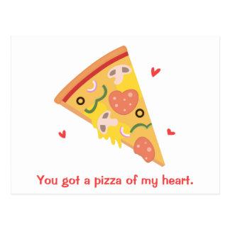 Cute Pizza of my Heart Pun Love Humor Postcard
