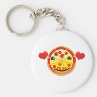 cute pizza pepperoni! basic round button keychain
