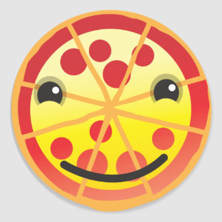 cute pizza pepperoni! classic round sticker
