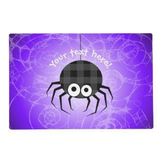Cute Plaid Black Spiders and Curly Web Placemat