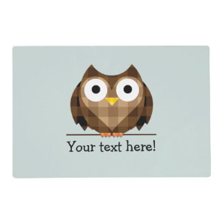 Cute Plaid Brown Horned Owl Illustration Placemat