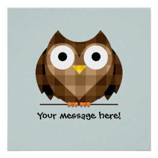 Cute Plaid Brown Horned Owl Illustration Poster