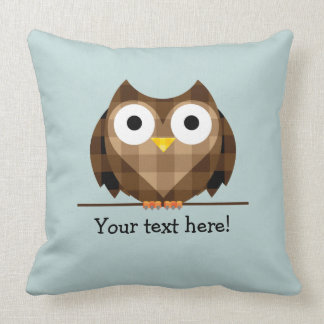 Cute Plaid Brown Horned Owl Illustration Throw Pillow