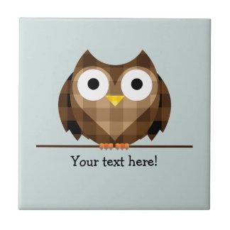 Cute Plaid Brown Horned Owl Illustration Tile