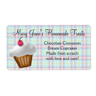 Cute Plaid Cupcake Custom Label Shipping Label