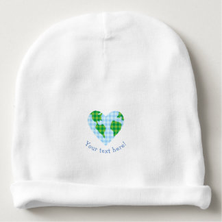 Cute Plaid Earth Heart Cartoon Icon Baby Beanie