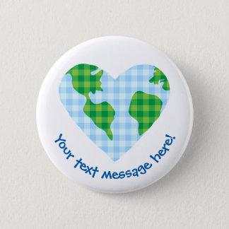 Cute Plaid Earth Heart Cartoon Icon Pinback Button