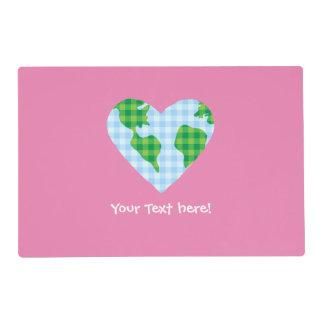 Cute Plaid Earth Heart Cartoon Icon Placemat