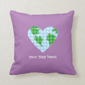 Cute Plaid Earth Heart Cartoon Icon Throw Pillow