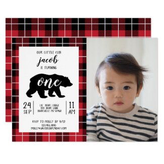 Cute Plaid Flannel Pattern Baby Photo 1st Birthday Invitation