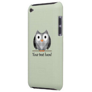Cute Plaid Gray Horned Owl Illustration Barely There iPod Case