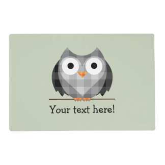 Cute Plaid Gray Horned Owl Illustration Placemat