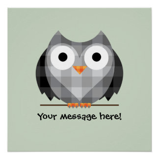 Cute Plaid Gray Horned Owl Illustration Poster