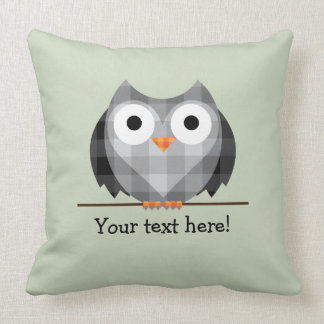 Cute Plaid Gray Horned Owl Illustration Throw Pillow