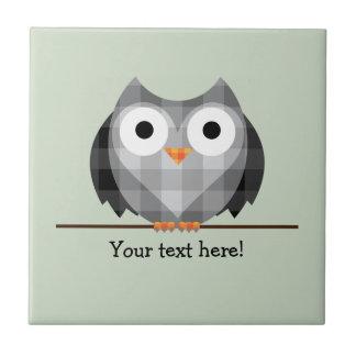 Cute Plaid Gray Horned Owl Illustration Tile