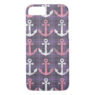 Cute Plaid Nautical Pink Purple Anchors Pattern iPhone 8/7 Case