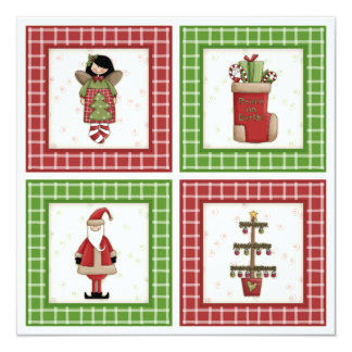 """Cute Plaid Patchwork Style Christmas Party Invite 5.25"""" Square Invitation Card"""