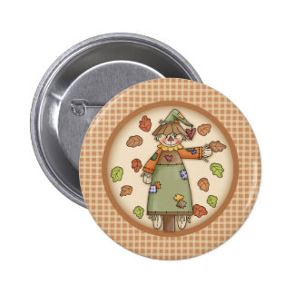 Cute Plaid Pattern with Scarecrow & Autumn Leaves 2 Inch Round Button